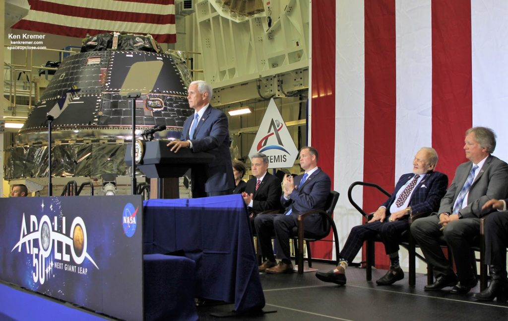 VP Pence Declares Orion Artemis 1 Moon Capsule Complete During KSC Visit Honoring Apollo 11 Lunar Landing: Photos