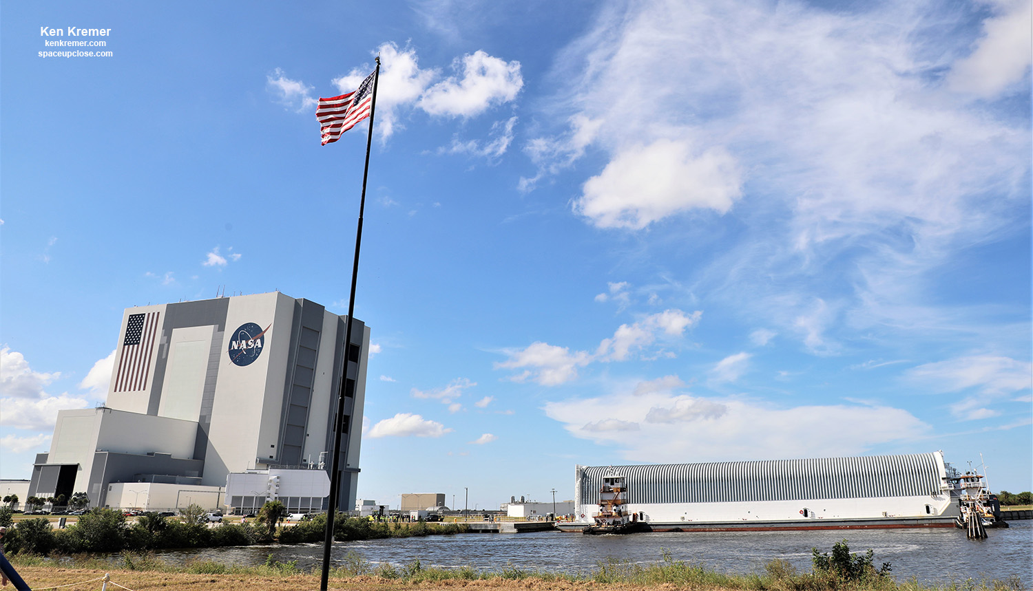 SLS Core Stage Pathfinder Arrives Kennedy Space Center to Support Artemis Moon Program: Photos
