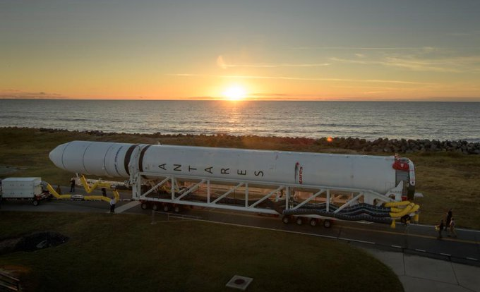 Upgraded Antares Rocket Rolls to Virginia Launch Pad for Resupply Mission from NASA Wallops to ISS