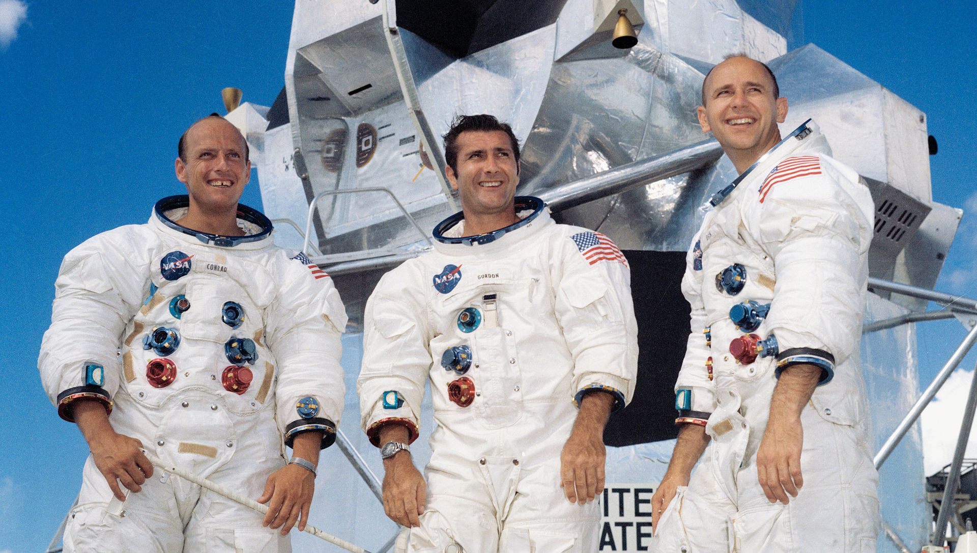 "Portrait of the prime crew of the Apollo 12 lunar landing mission. From left to right they are: Commander, Charles ""Pete"" Conrad Jr.; Command Module pilot, Richard F. Gordon Jr.; and Lunar Module pilot, Alan L.Bean. The Apollo 12 mission was the second lunar landing mission in which the third and fourth American astronauts set foot upon the Moon. This mission was highlighted by the Lunar Module nicknamed ""Intrepid"" landing within a few hundred yards of a Surveyor probe which was sent to the Moon in April of 1967 on a mapping mission as a precursor to landing."