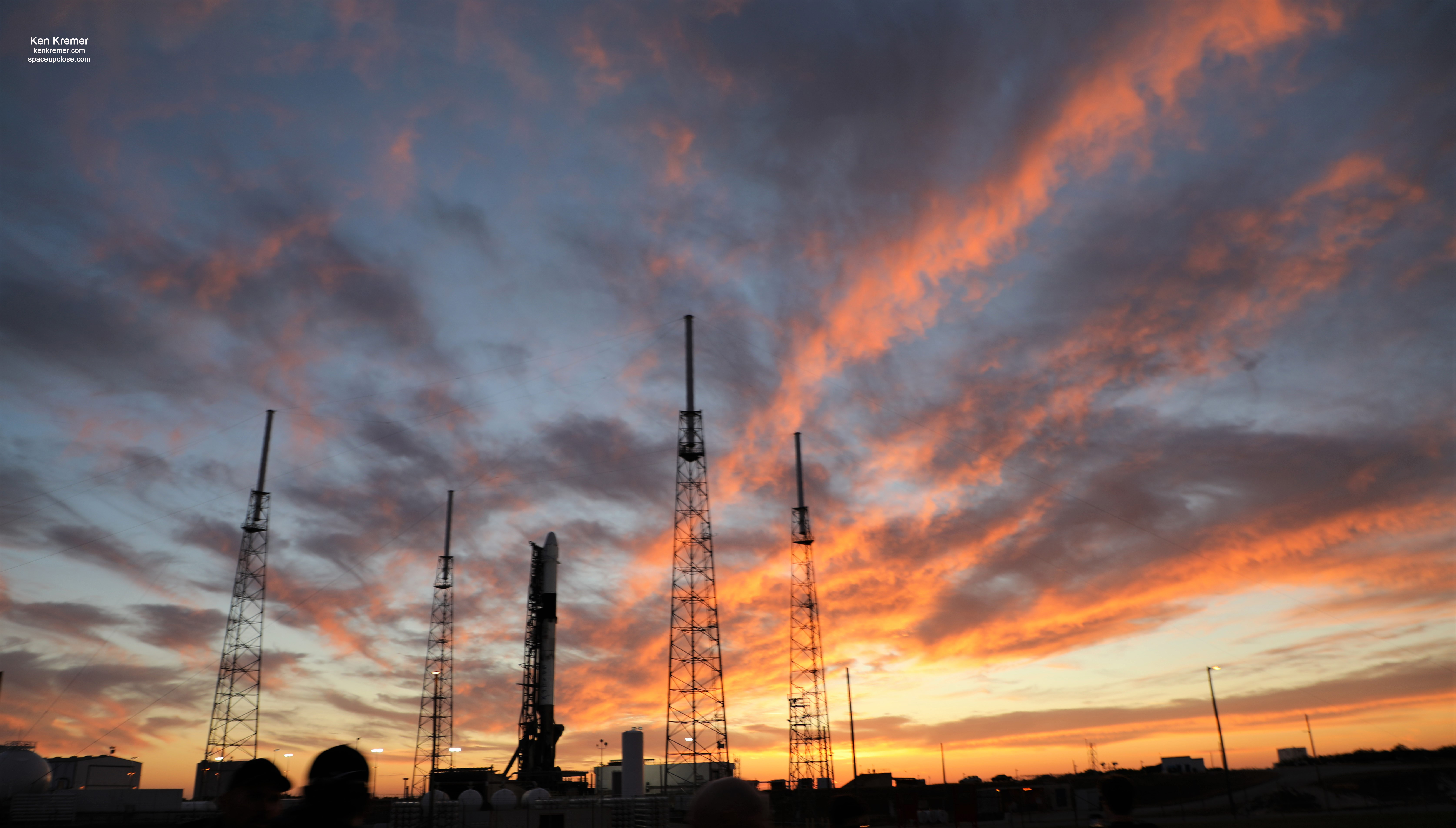 Fabulous Fiery Sunset Greets Final SpaceX Dragon 1 Vertical On Falcon 9 for NASA Cargo Flight to ISS Friday March 6: Watch Live/Photos