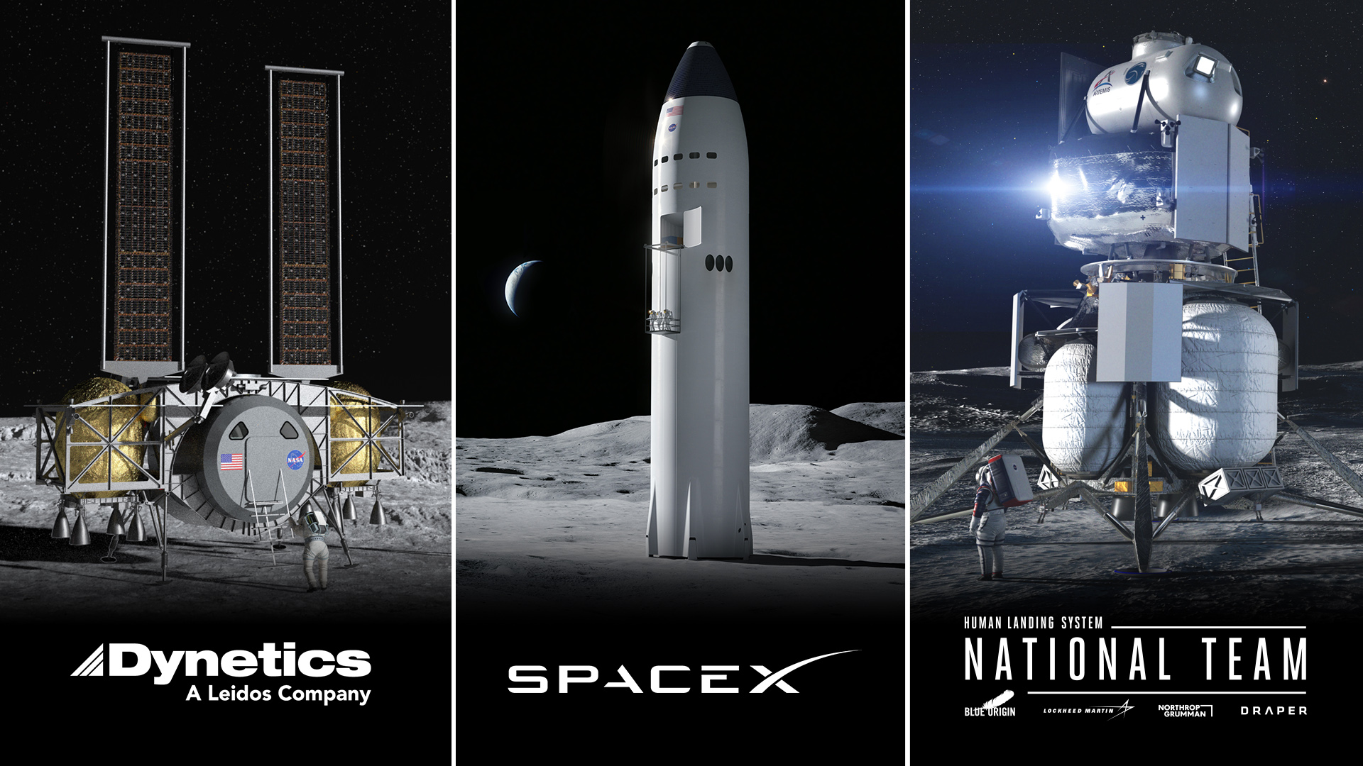NASA Selects 3 US Companies to Develop Human Landers for Artemis Moon Missions