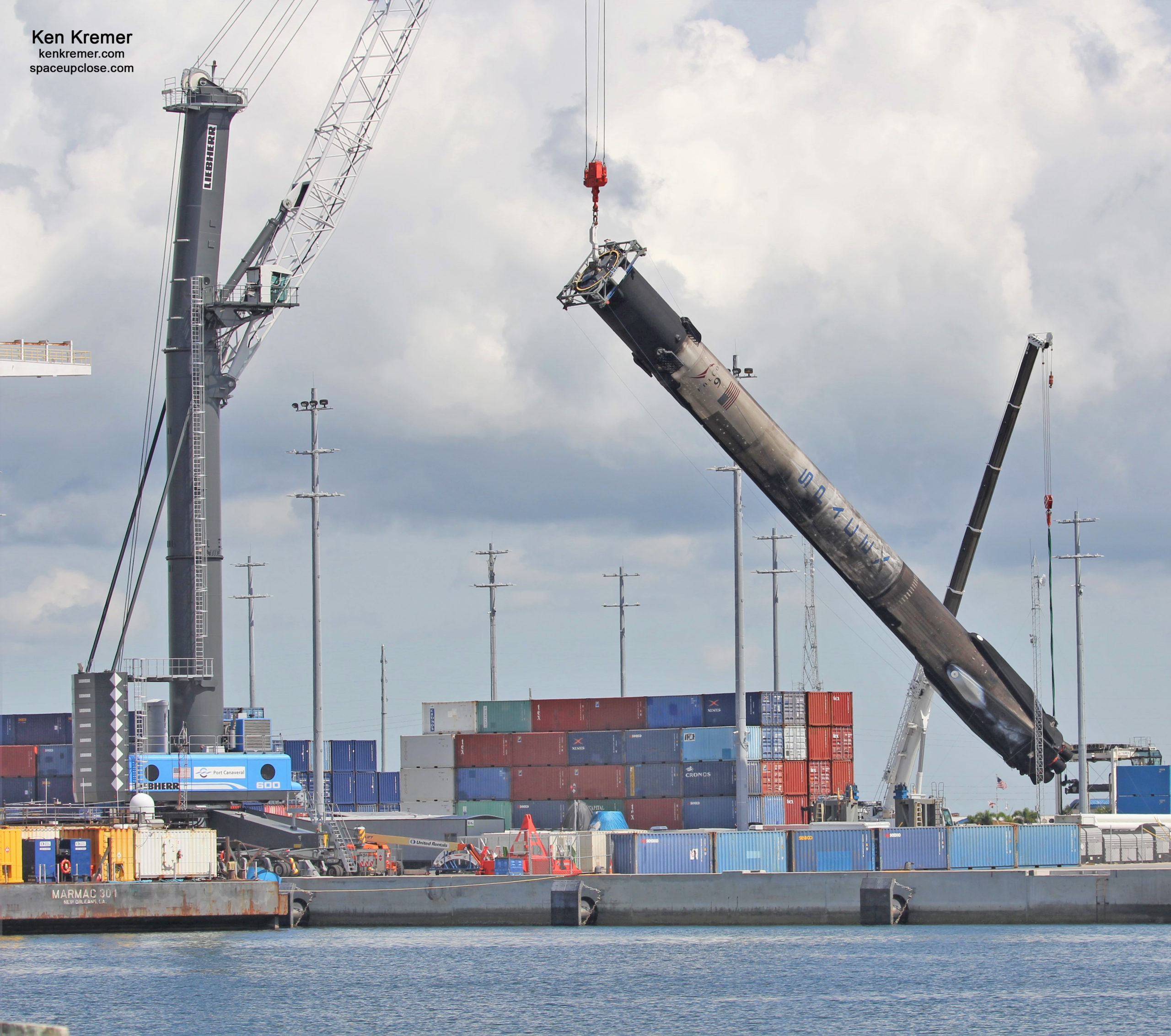 5x Flown Falcon 9 Booster Tilted Horizontal after All Legs Retracted for Transport Back to Cape: Photos