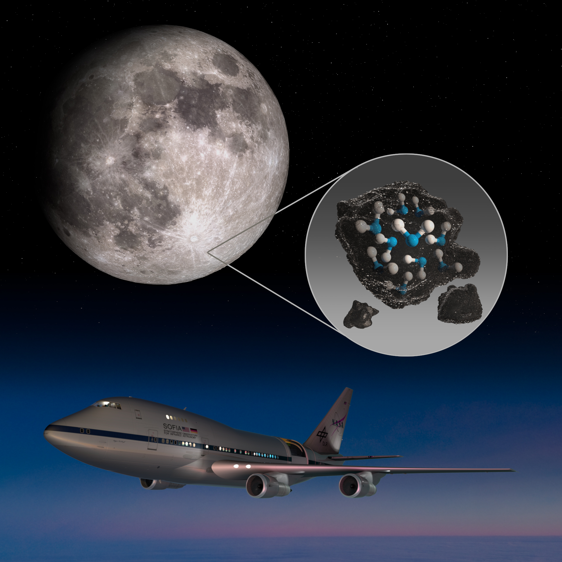 NASA's SOFIA Observatory Discovers Water Molecules on Sunlit Surface of Moon Aiding Artemis