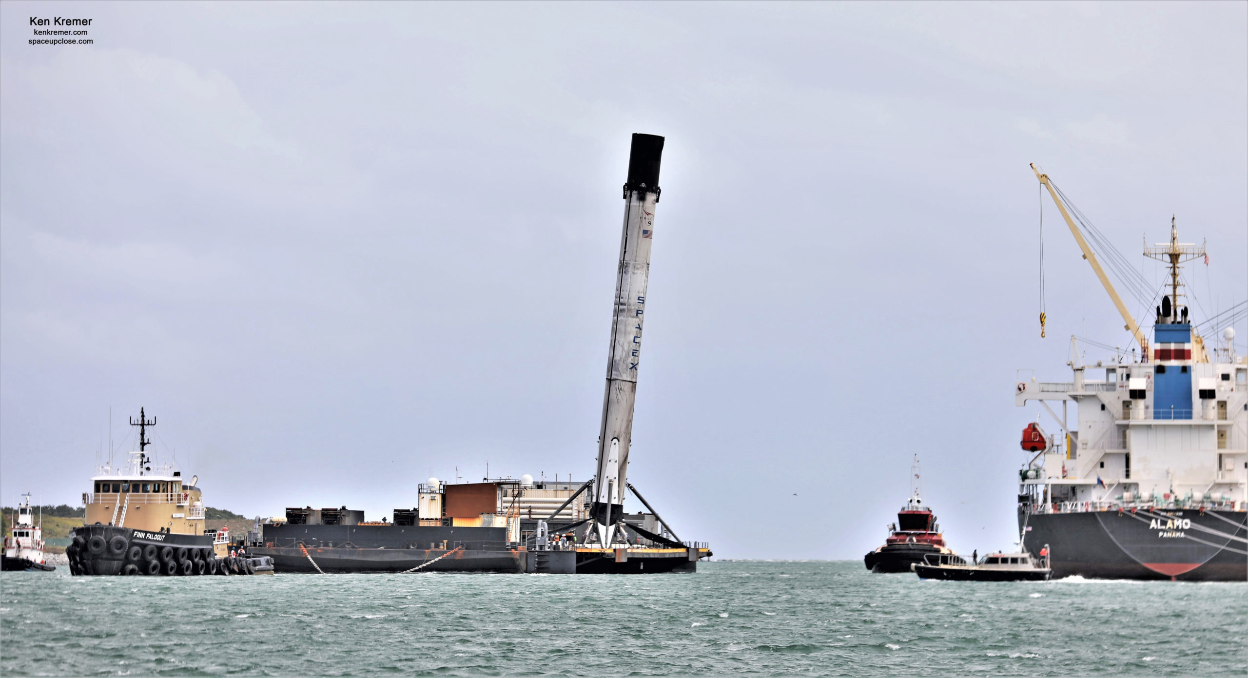 Leaning Landed SpaceX Crew 1 Historic Falcon 9 Launch Booster Returns to Port Canaveral on Droneship: Photos
