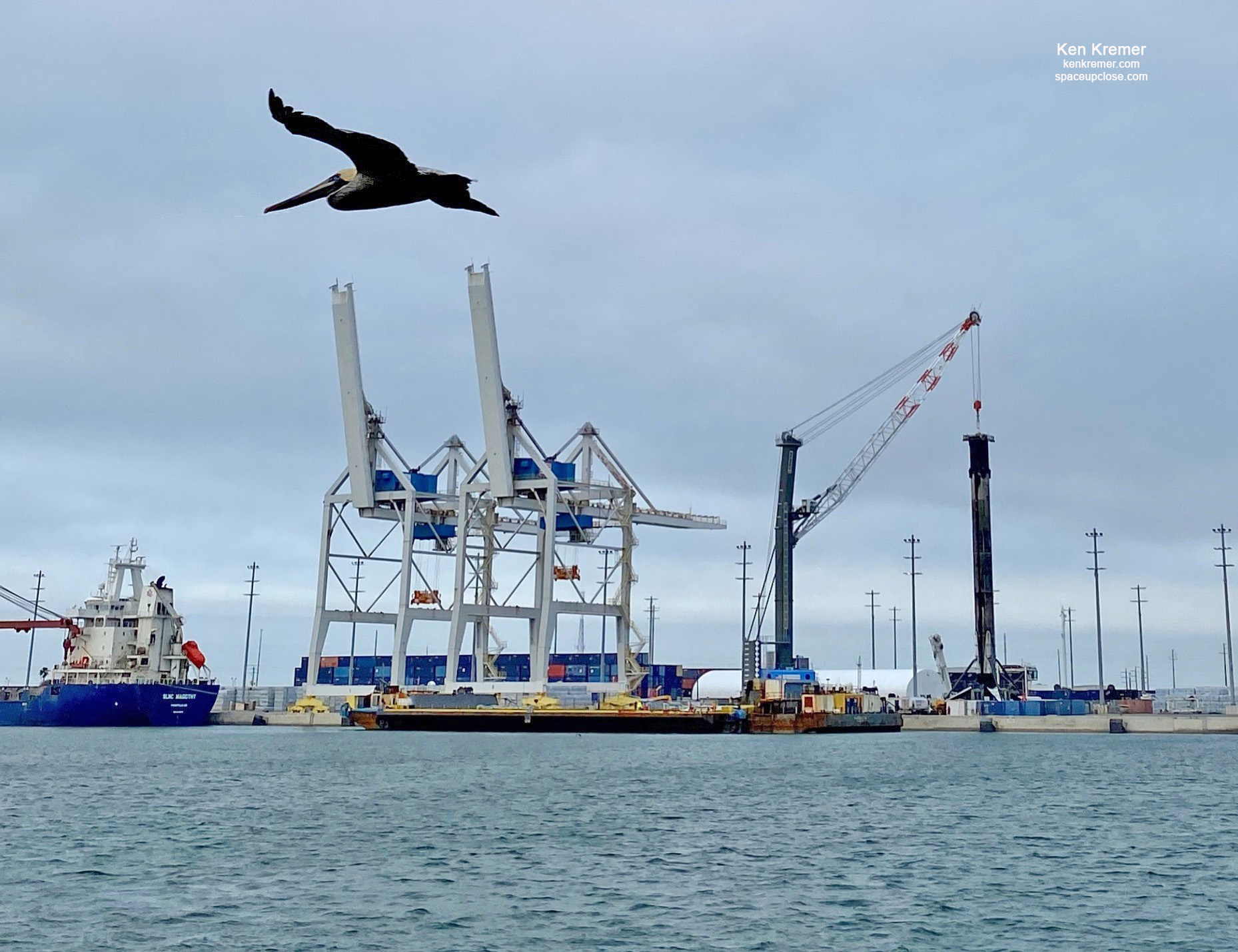 5x Flown and Landed SpaceX Falcon 9 Booster Returns to Port Canaveral Amidst Threatening Weather: Photos