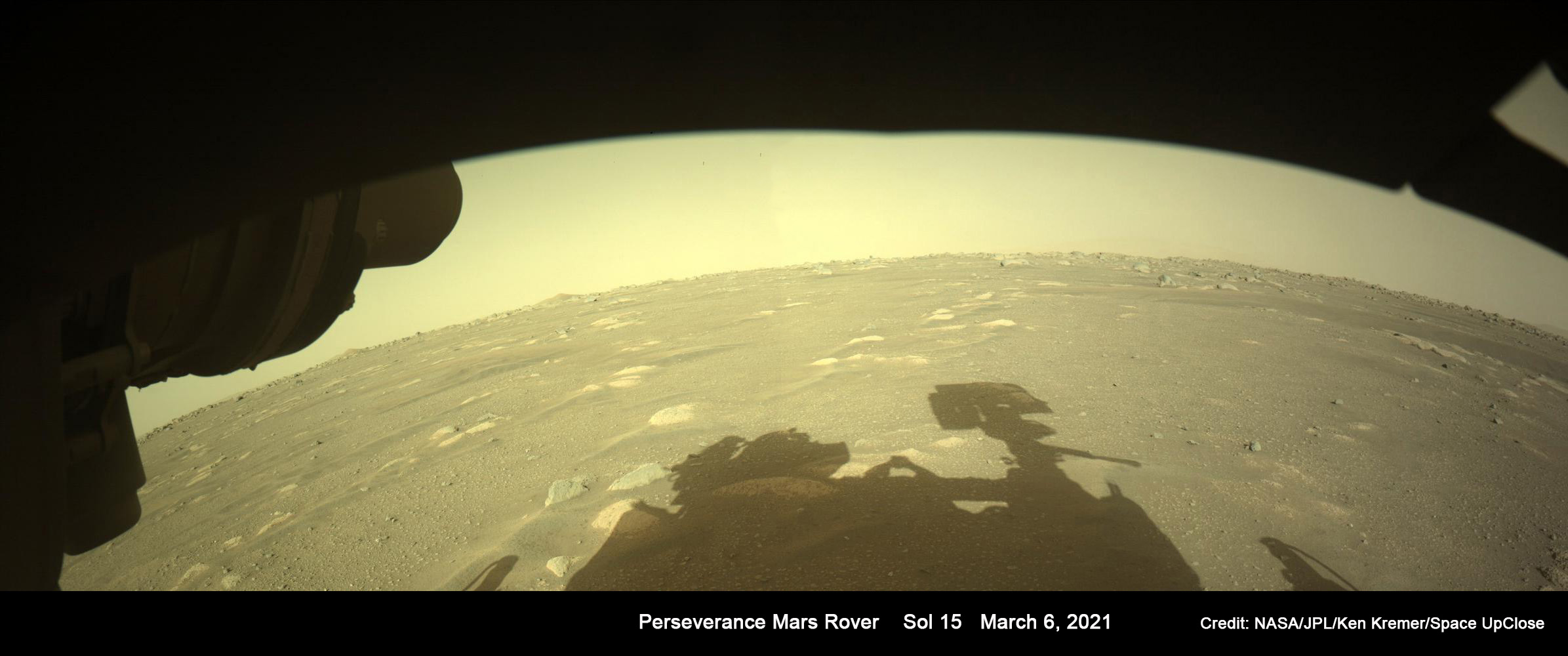 Shadow of a Martian Robot – Perseverance Rover Snaps Beautiful Shadow Selfie: Mosaic