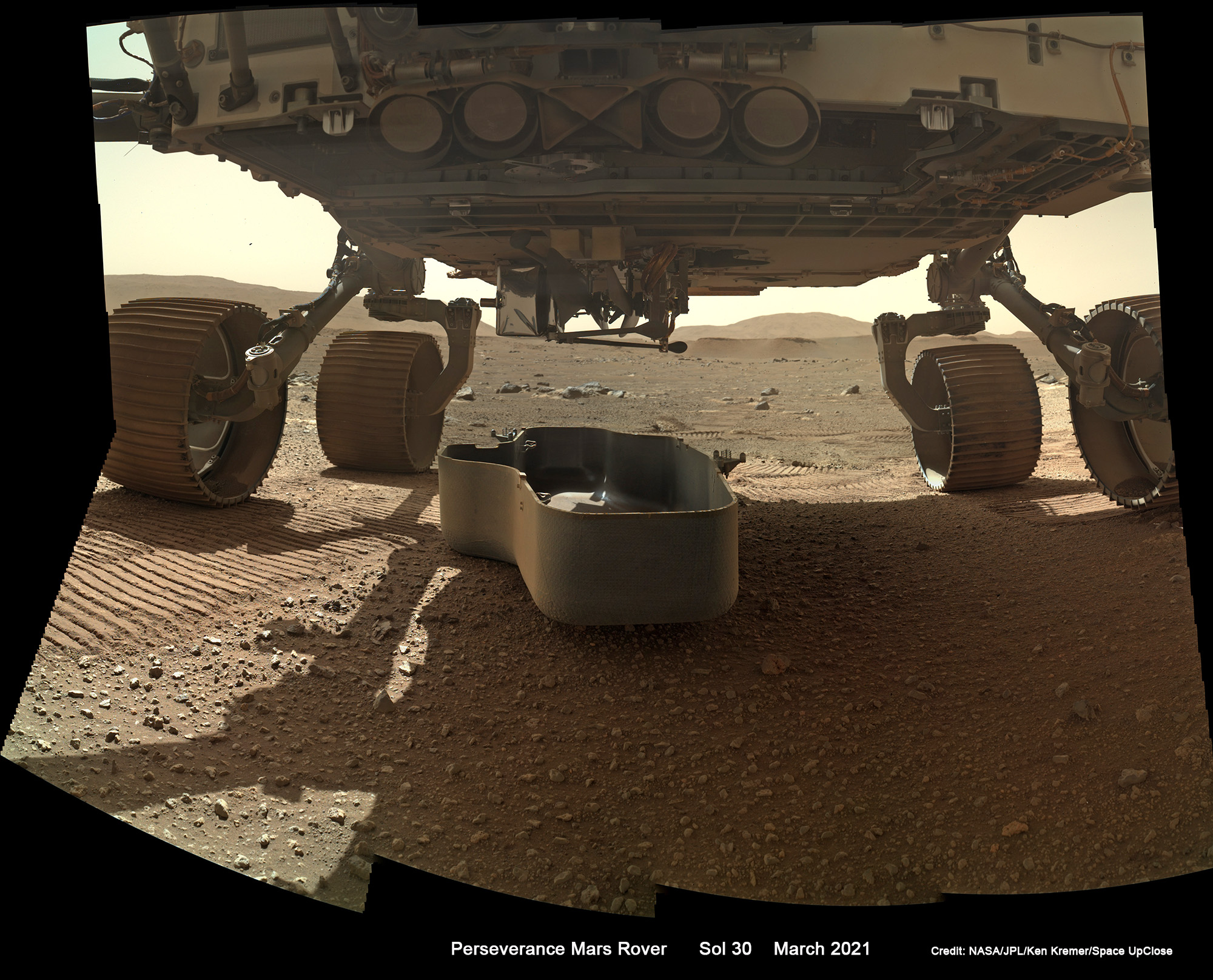 1st Look at NASA's Unveiled Mars Helicopter Ingenuity on Perseverance Rover Belly as Heliport Takeoff Site Located: Mosaic