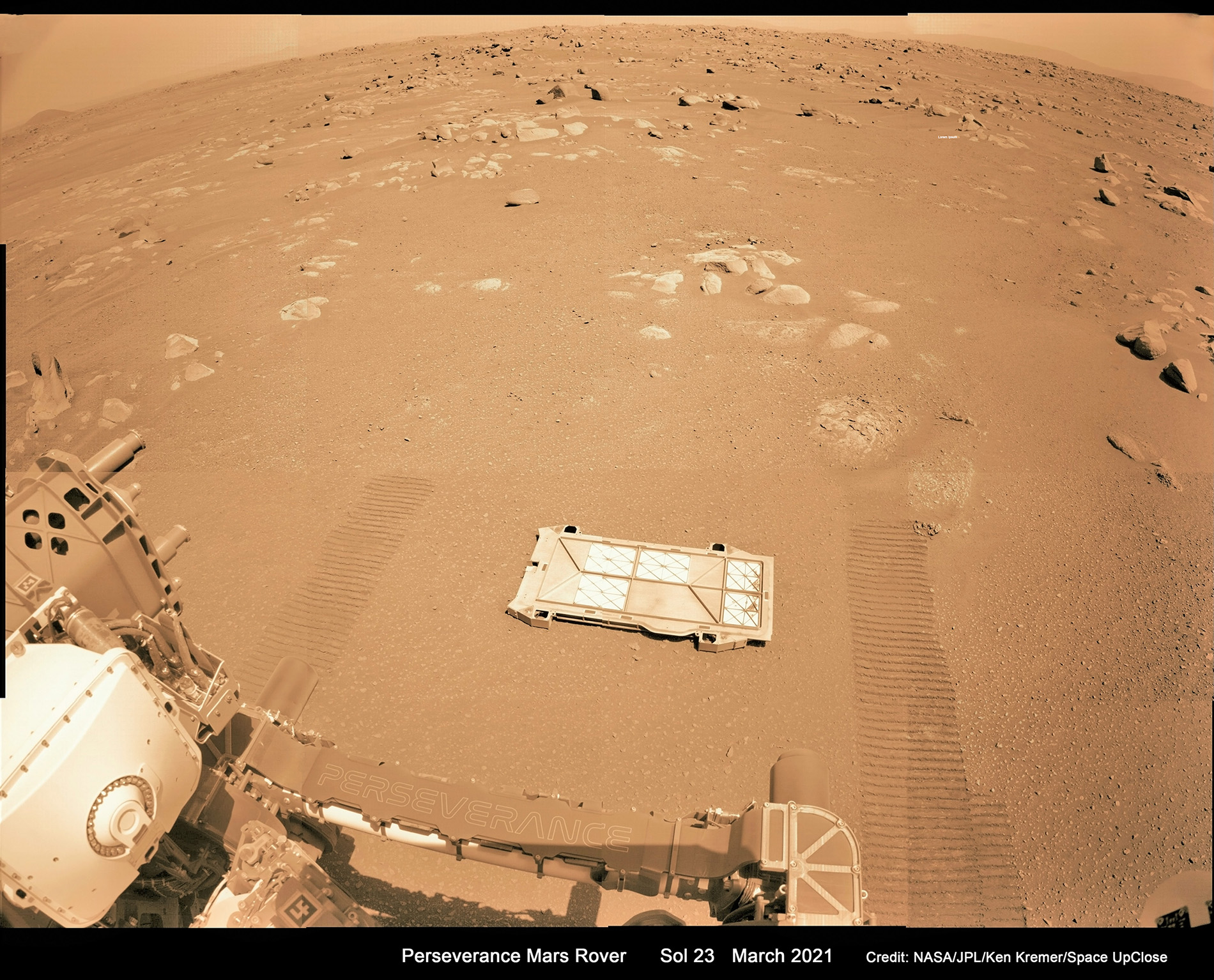Perseverance Rover Drops Belly Pan Cover from Sample Caching System onto Mars: Mosaic