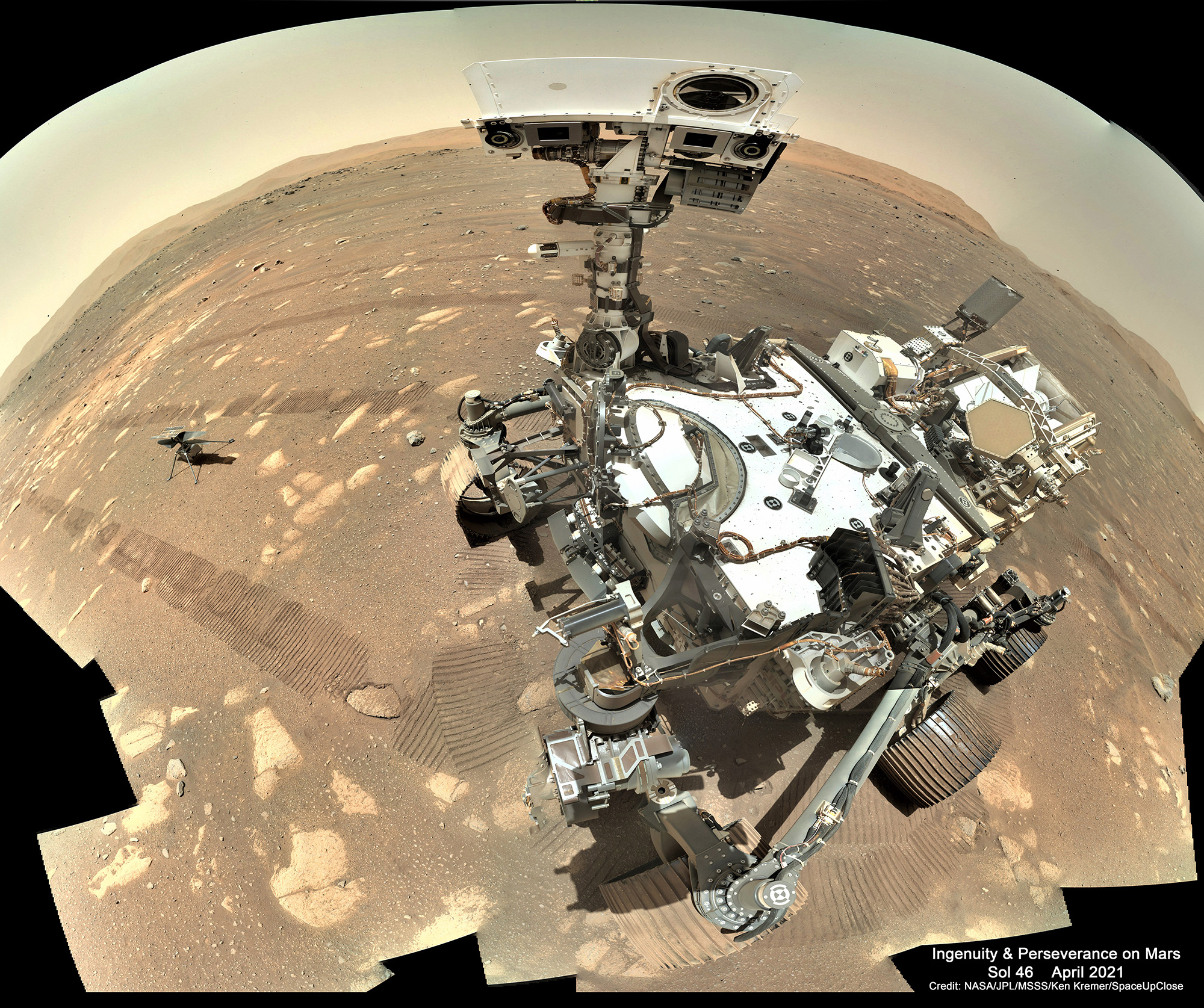 Ginny and Percy: Perseverance Snaps Spectacular 1st Selfie with Ingenuity Helicopter on Mars Ahead of Historic Flight! Mosaic