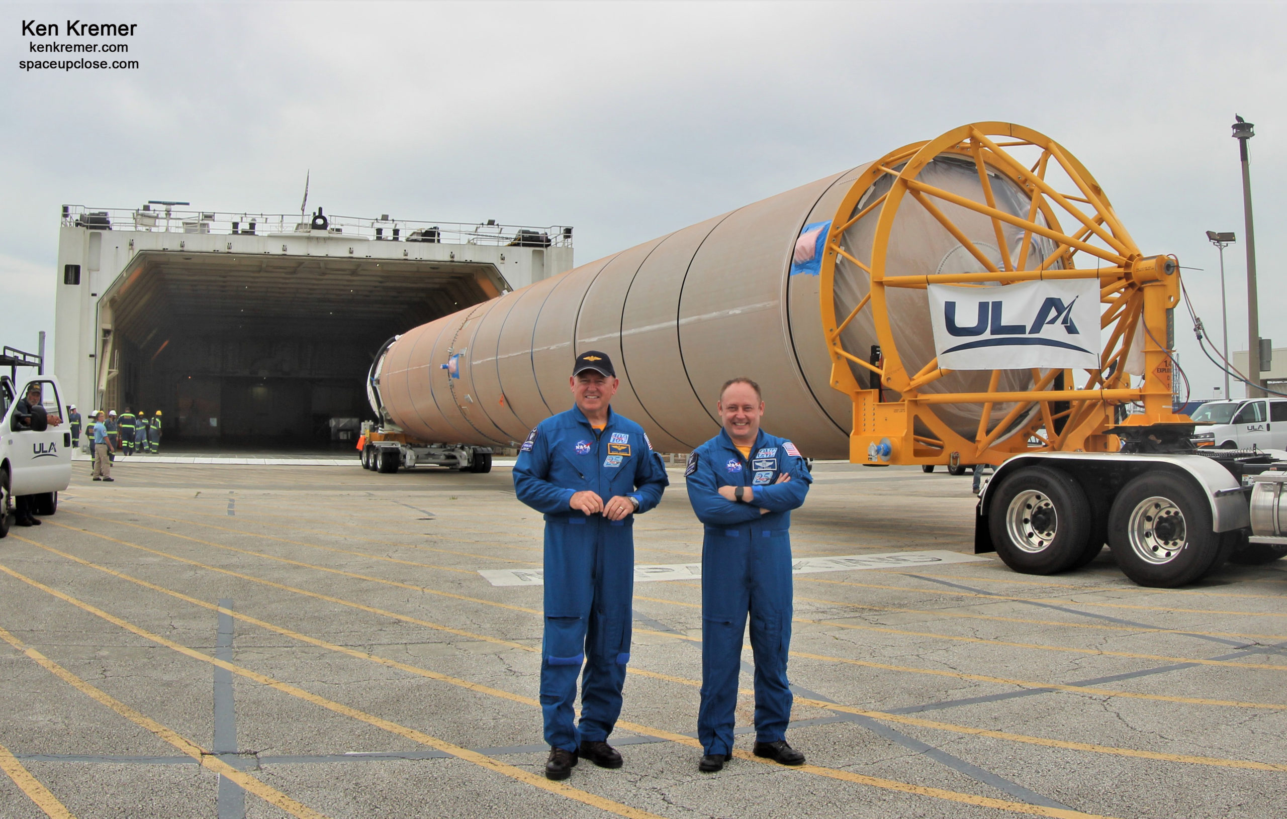 ULA Atlas V Rocket for NASA Boeing Starliner Crew Test Flight to ISS Unloaded and Shipped to Cape Launch Site: Photos