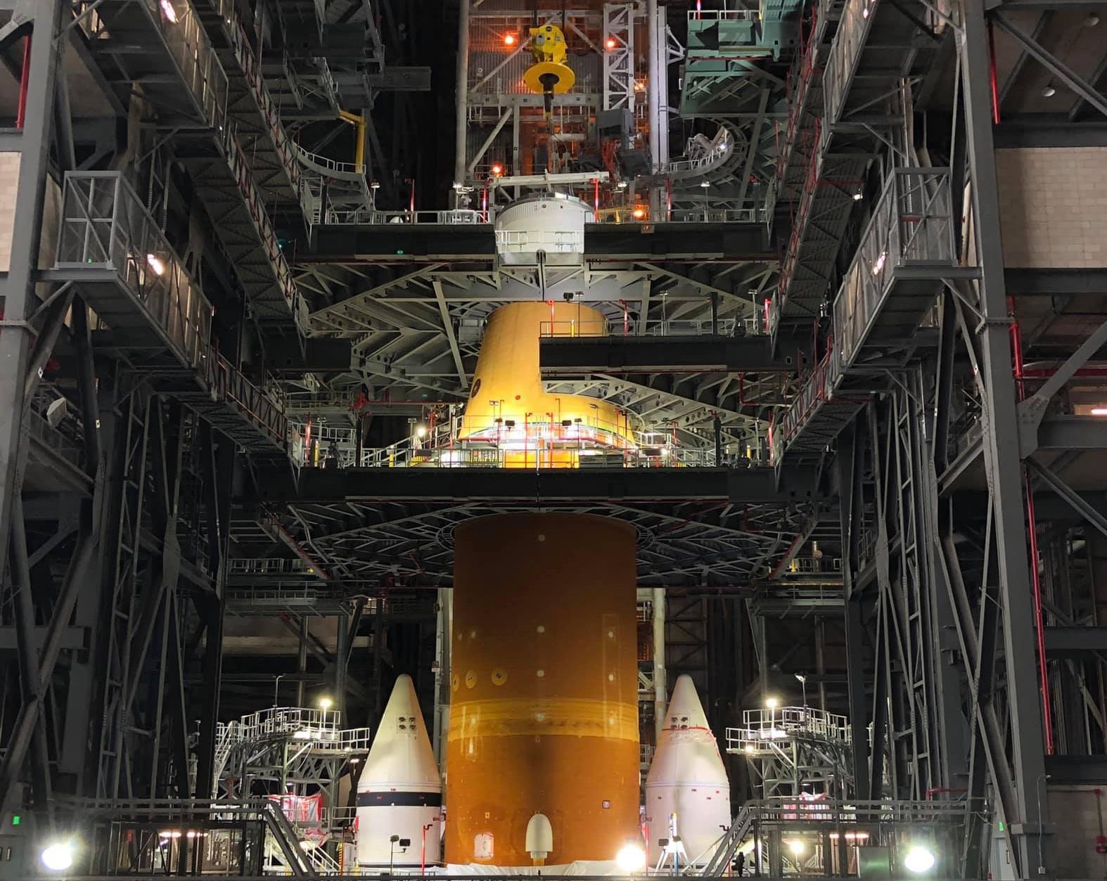 Big Build In Progress for NASA's 1st SLS Moon Rocket Inside VAB at Kennedy Space Center