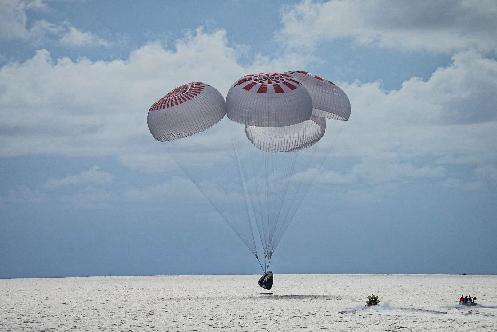 All-Civilian Inspiration4 Crew of 1st Time Space Travelers Splashdown Safely off Florida Coast in Atlantic Ocean